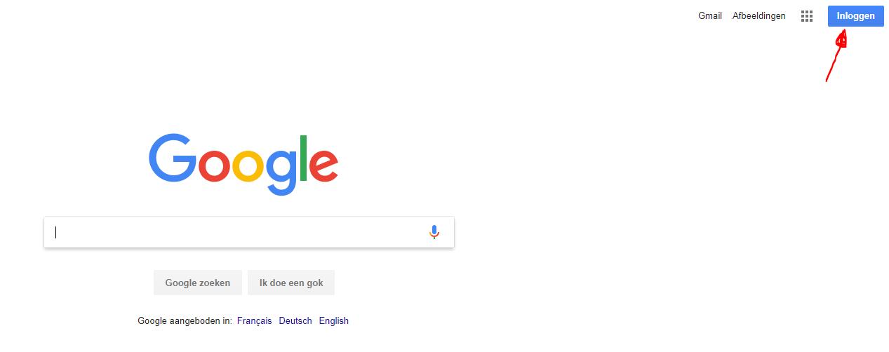 Klik op inloggen bij Google