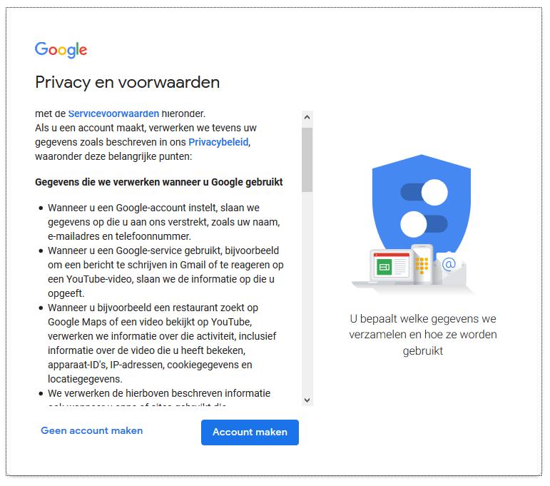 Tenslotte krijg je nog eens scherm met Privacy en voorwaarden.